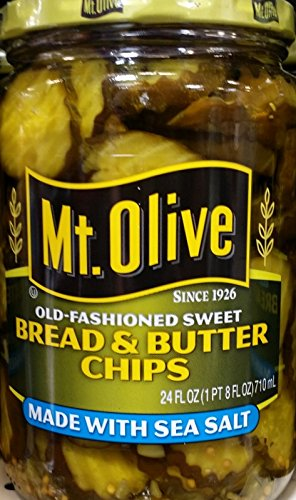 Mt. Olive Bread & Butter Chips with Sea Salt 24 Oz (Pack of 2)