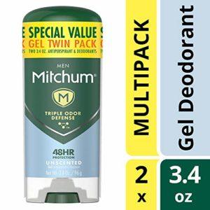 Mitchum Men Gel Antiperspirant Deodorant Twin Pack, Unscented, 3.4oz.