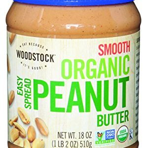 Woodstock Farms Organic Peanut Butter, Easy Spread, Smooth, Salted, 18-Ounce Jars (Pack of 4)