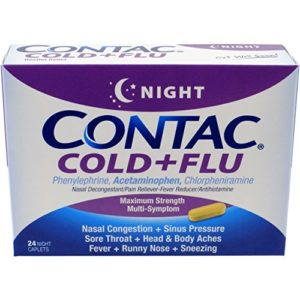 Contac Cold+Flu Day, 24 Night Caplets, Powerful Non-Drowsy Daytime Relief from Cold & Flu Symptoms, Nasal Decongestant, Pain Reducer