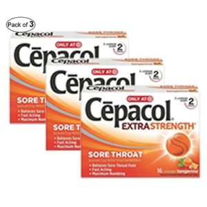 Cepacol Extra Strength Sugar Free, Orange 16Ct (Pack of 3)