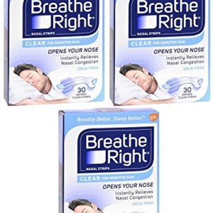 Breathe Right Nasal Strips - Clear - For Sensitive Skin - Sm / Med Clear Strips - 30 Count Strips Per Box - Pack of 3
