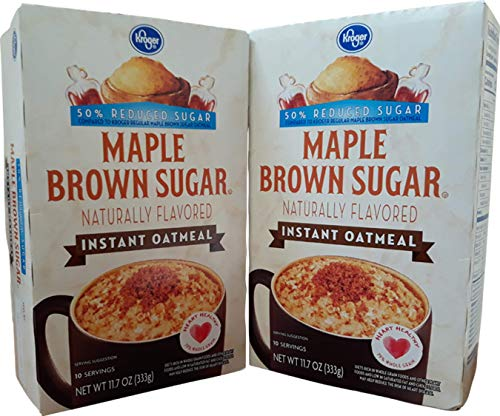 Kroger Instant Oatmeal Naturally Flavored Source of 7 Vitamins & Minerals Pantry Pack 10 Servings 63% Whole Grain (Maple & Brown Sugar) (2 pk)