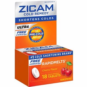 Zicam Ultra Cold Remedy Rapidmelts, Cherry Flavor, 18 Quick-Dissolve Tablets, Free of Artificial Dyes