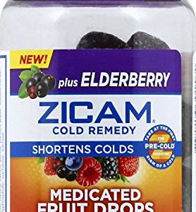Zicam Cold Remedy Medicated Fruit Drops Homeopathic Medicine for Shortening Colds, Elderberry, 25 Drops