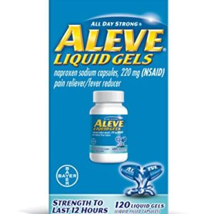 Aleve Liquid Gels, Naproxen Sodium Capsules 220 mg (NSAID), Pain Reliever/Fever Reducer, Fast Pain Relief, 120 Count