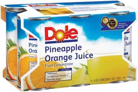 Dole 100% Juice Juice Pineapple Orange 6 Oz - 8 Pack