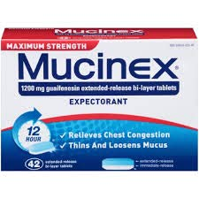 Mucinex 12 Hour Maximum Strength Chest Congestion Expectorant Tablets, 42ct, 1200mg Guaifenesin with Extended Relief (2 Pack)
