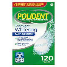 Polident Overnight Whitening, Antibacterial Denture Cleanser, Triple Mint Freshness 120 ea (Pack of 5)