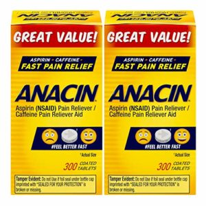 Anacin Fast Pain Relief Pain Reducer Aspirin Tablets, 300 Tabs (Pack of 2)