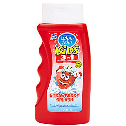White Rain 3in1 Kids Shampoo Body Wash Bath, Strawberry, 12oz