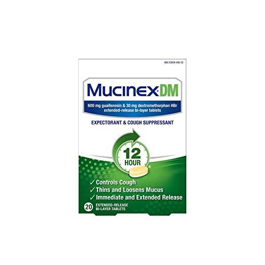 Mucinex DM 12 Hr Expectorant & Cough Suppressant Tablets, 20ct