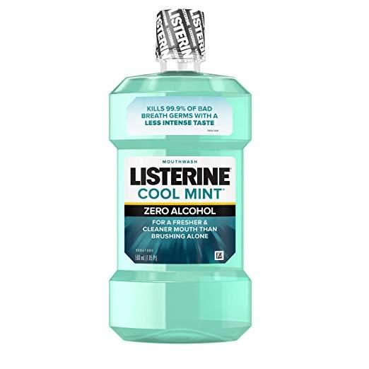 Listerine Zero Alcohol Mouthwash, Less Intense Alcohol-Free Oral Care Formula for Bad Breath, Cool Mint Flavor, 500 ml