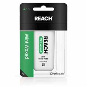 REACH Waxed Dental Floss for Plaque and Food Removal, Refreshing Mint Flavor, 200 Yards (Pack of 6)