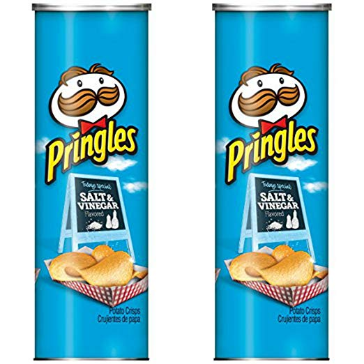 Pringles Salt and Vinegar Potato Crisps, 5.5 oz (Pack of 2)