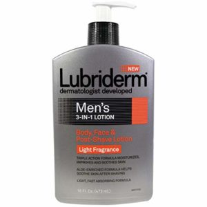 Lubriderm Men's 3-in-1 Body, Face & Post-Shave Lotion Fragrance Free 16 oz (Pack of 2)
