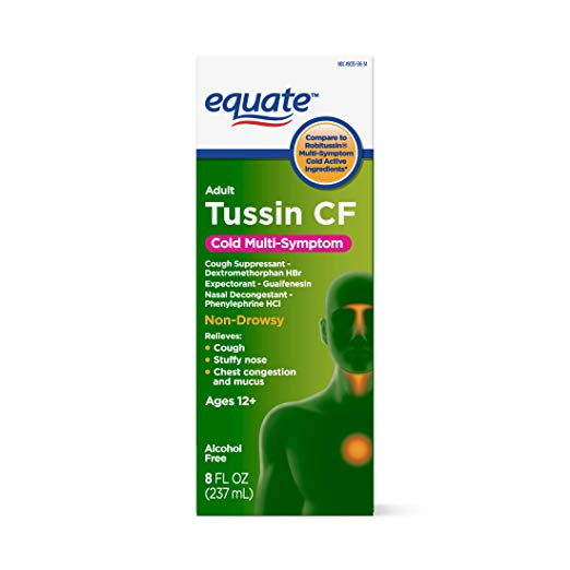 Equate - Tussin CF - Compare to Robitussin CF - Cough & Cold Syrup, 8 Fluid Ounce