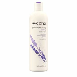 Aveeno Positively Nourishing Calming Body Wash with Lavender, Chamomile & Ylang-Ylang, Lightly Scented Daily Moisturizing Body Cleanser to Soothe & Relax, 16 fl. oz