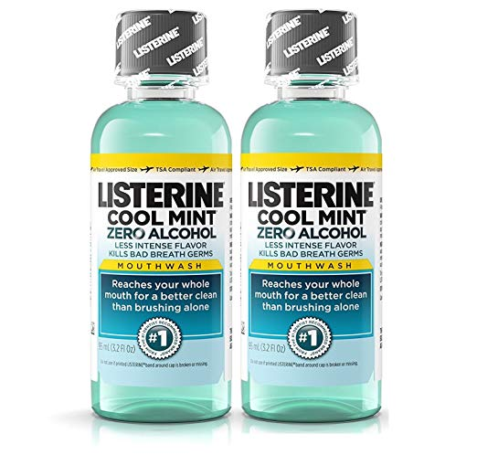 Listerine Cool Mint Zero Alcohol Mouthwash, Travel Size 3.2 Ounces (95ml) - Pack of 2