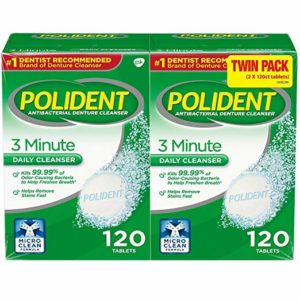 Polident Antibacterial 3 Minute Denture Cleanser 120 Tablets Per Box (Pack of 2)