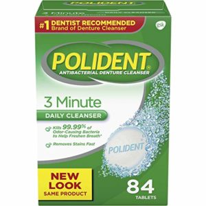 Polident 3 Minute Triple Mint Antibacterial Denture Cleanser Effervescent Tablets, 84 count (Pack of 3)