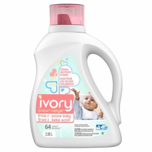 Ivory Snow Stage 2: Active Baby Hypoallergenic Liquid Laundry Detergent (HE), 2.95L (64 Loads) - Packaging May Vary