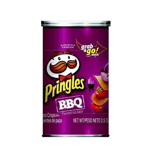 Pringles Potato Crisps Chips, BBQ Flavored, Grab and Go, 2.5 oz Can(Pack of 12)