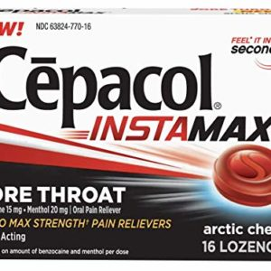 Cepacol InstaMax Sore Throat Lozenges, Sugar-Free, Berry Frost, 16 Lozenges (Pack of 2).