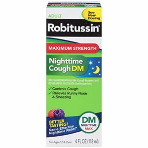 Robitussin Max Strength Nighttime Cough DM Cough Suppressant & Antihistamine Liquid Box, 4 Fluid Ounce