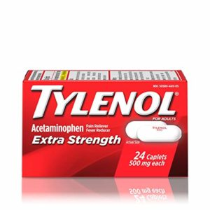 Tylenol Extra Strength Caplets with 500 mg Acetaminophen, Pain Reliever & Fever Reducer, For Headache, Backache & Menstrual Pain Relief, 24 ct