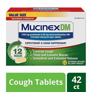 Cough Suppressant and Expectorant, Mucinex DM Maximum Strength 12 Hr Relief Tablets, 42ct, 1200 mg, Thins & loosens mucus that causes chest congestion, #1 Doctor recommended OTC expectorant