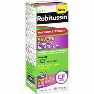 Robitussin Adult (8 fl. oz. Bottle) Maximum Strength Severe Cough + Sore Throat Relief Medicine, Cough Suppressant, Acetaminophen