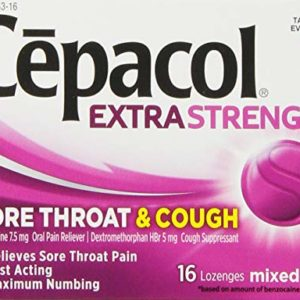 Cepacol Maximum Strength Throat and Cough Drop Lozenges, Mixed Berry, 16 Count (Pack of 12)