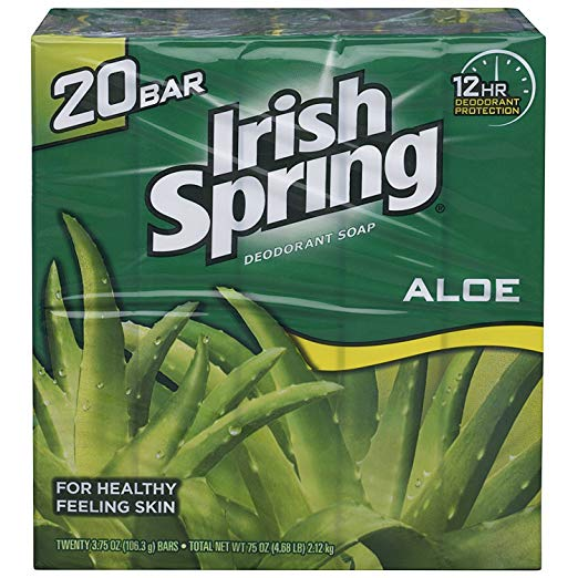 Irish Spring Aloe Bar Soap 3.75 Oz-pack of 20 Bars