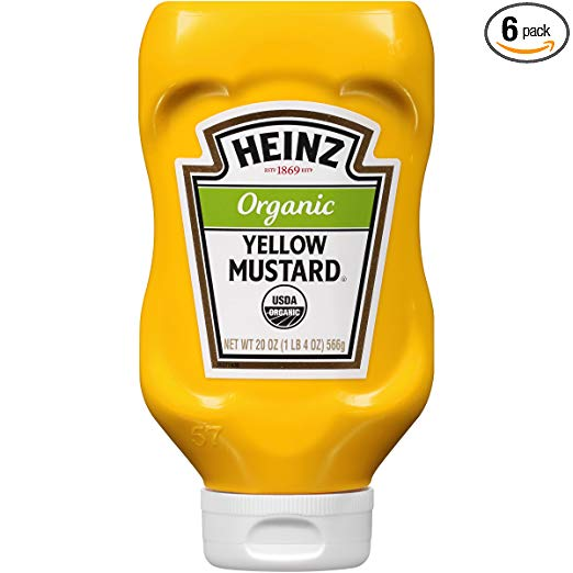 Heinz Organic Yellow Mustard (20oz Bottles, Pack of 6)