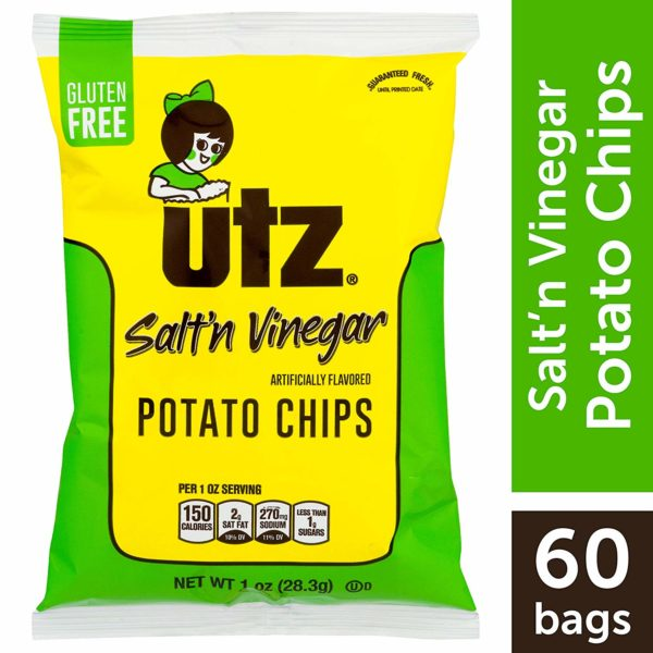 Utz Potato Chips, Salt & Vinegar, 1 oz Bag (Pack of 60)