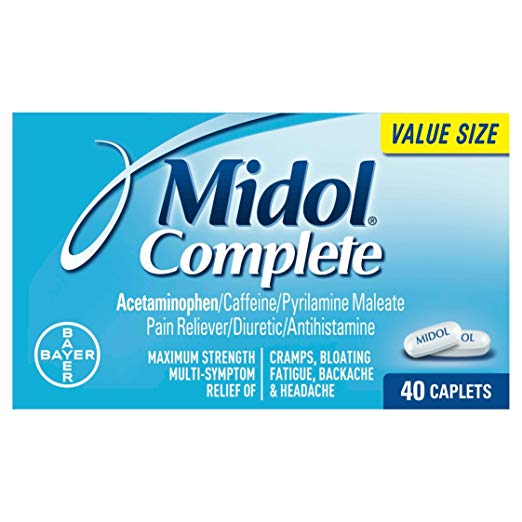 Midol Complete Maximum Strength Pain Reliever Caplets 40 ea (Pack of 2)