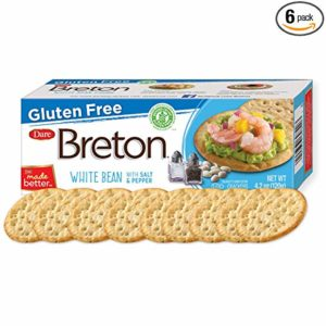 Dare Breton Gluten Free Entertaining Crackers, White Bean with Salt and Pepper – Gluten Free Party Snacks with 2g of Fiber and Protein per Serving – 4.2 Ounces (Pack of 6)