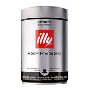 illy Ground Espresso Coffee Dark Roast, 100% Arabica Coffee Blend Can, 8.8 Ounce