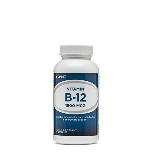 GNC Vitamin B-12 1500 MCG, 90 Capsules, Supports Carbohydrate Metabolism and Energy Production