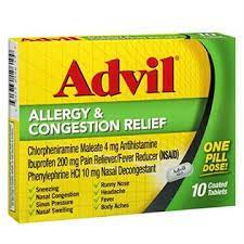 Advil Allergy & Congestion Relief Tablets 10 ea (Pack of 2)