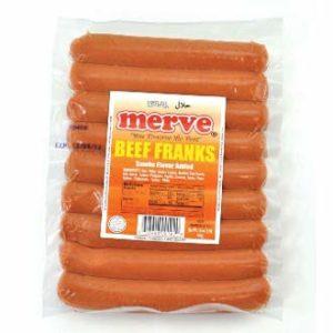 Merve Halal Beef Frank Halal Hot Dog 1lb (8 stick)