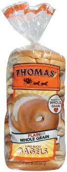 Thomas Whole Grain Plain 6 Pre-Sliced Bagels 20 oz