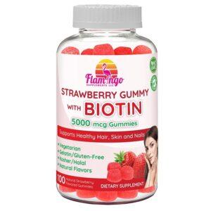 Flamingo Supplements - Biotin Gummies 5000 mcg for Women & Men with Non GMO Gluten Free Natural Strawberry Flavor  Vegetarian, Kosher Halal Vitamins for Hair & Nails   100 Count