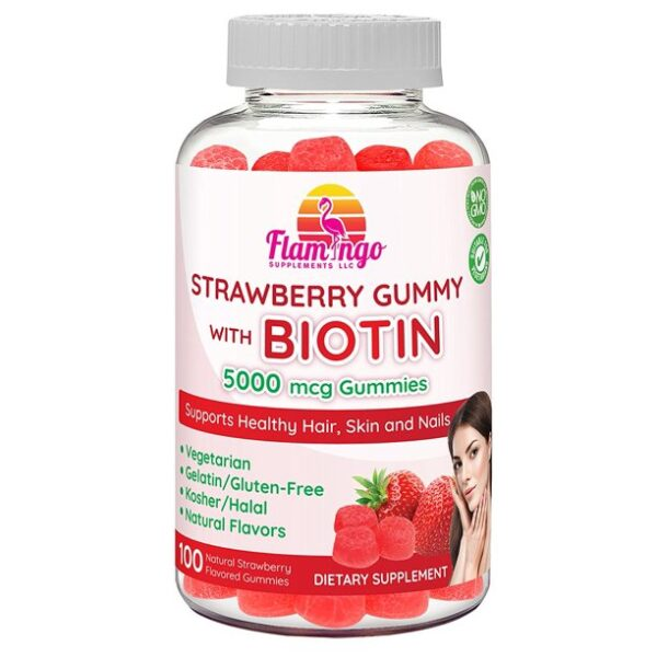 Flamingo Supplements - Biotin Gummies 5000 mcg for Women & Men with Non GMO Gluten Free Natural Strawberry Flavor| Vegetarian, Kosher Halal Vitamins for Hair & Nails | 100 Count