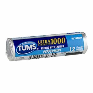 Tums Regular Strength, Peppermint, 12-Count Rolls (Pack of 12)