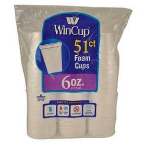 Wincup Styrofoam Cup 6 Oz Bagged 51 Count