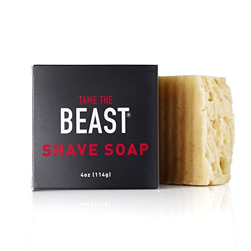 Vegan Shave Soap - Natural All-in-One Face & Body Bar, Organic Gluten-Free Oatmeal, Bentonite Clay, Lemongrass Oil, Coconut Oil, Rainforest Alliance Certified Palm Oil, Halal - Tame the Beast