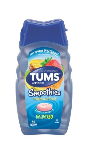 Tums Smoothies Assorted Tropical Fruit, 60 Chewable Tablets, (Pack of 2) by TUMS