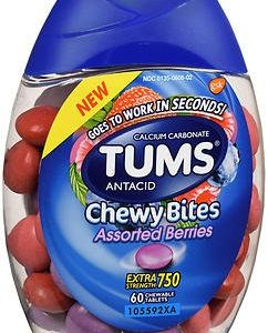 Tums Antacid Chewy Bites, Assorted Berries, 60 Chewable Tablets (Pack of 2)